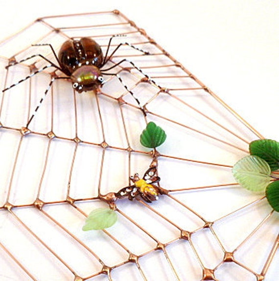 Handmade Copper Spider Web Spider and Bug Perfect Gift for Entomologists and Bug Lovers