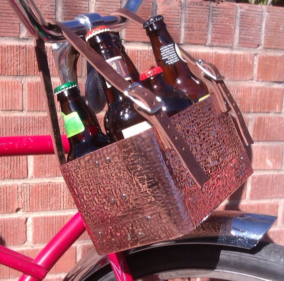 Handmade Copper Basket : Beer bicycle basket handmade copper steampunk style