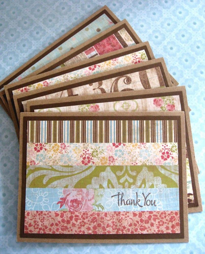 flea market    handmade thank you cards set of 6