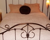 R E S E R V E D for Trina: Hofmann Chenille Pink Daisy Bedspread Queen