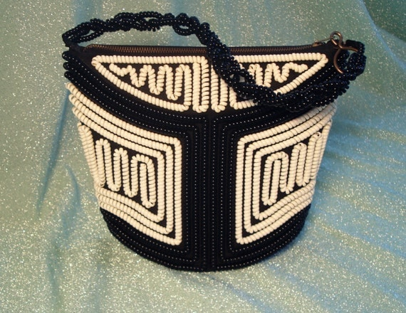 40s/50's Telephone Cord Purse- Black & White