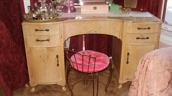 Art Deco Vanity Stool with Hot Pink Cushion