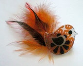 Brooch - Bird (Orange) with Feathers