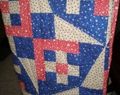Red White and Blue Lap Quilt,Quilt,gift,birthday,holiday decor,anniversary,patriotic decor