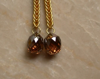 Diamond Briolette Earrings 1 plus ctw, 22k gold handmade chain