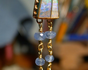Boulder Opal Earrings with blue sapphire beads