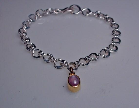 Silver bracelet, handmade with star sapphire