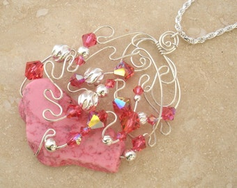 Silver Wire / Magnesite/ Indian Pink Crystal Neckalce SN107