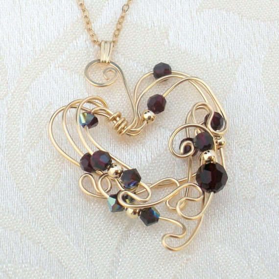 Reserved for Ellen Gold Wire / Garnet Crystal Heart Necklace GHN134