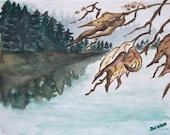 Leaf Lake Original Signed Watercolor Painting by Artist Jodi Spilde, justforfunbyjodi