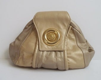 Vintage 1980s Gold Taupe Leather Patchwork Slouch Clutch Bag Purse