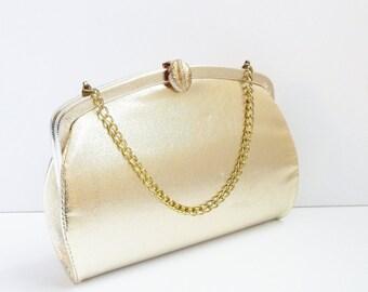 Vintage 1950s Gold Lame Frame Clutch Evening Bag Purse