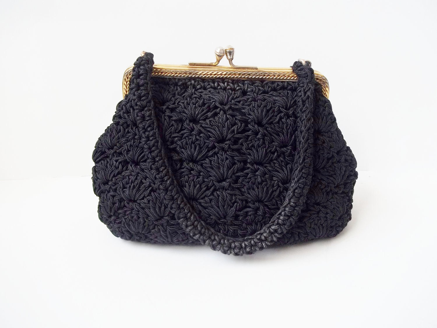 Vintage 1950s Black Crochet Frame Evening Bag by ...