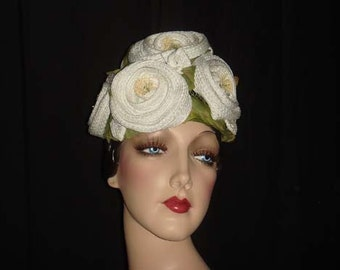 Vintage Don Anderson Rosette Hat / 1950s 1960s Woven Swirling Roses Hat