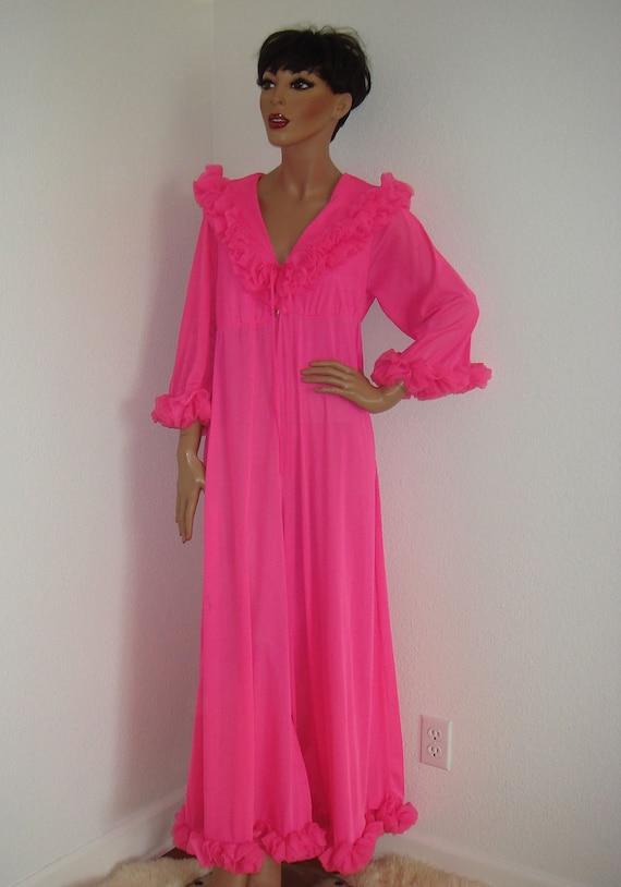 Vintage 1960s Chiffon Palazzo Pants Jumpsuit / 60s hot pink nylon hostess pajamas with ruffles