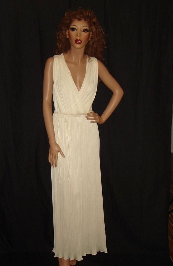 Vintage 1970s Cream Grecian Goddess Pleated Maxi Dress, xs/s