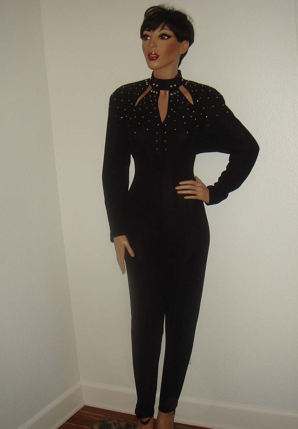 Vintage 80s Black Jumpsuit Gold And Rhinestone By