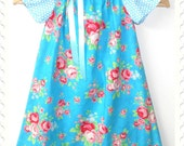 Vibrant blue peasant dress for girls - one only size 4