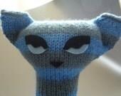 Siamese cat knitting pattern PDF - stripy cat