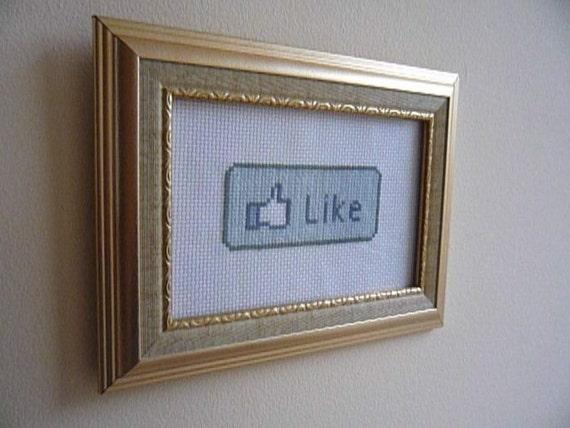 Facebook Like Button cross stitch embroidery pattern PDF