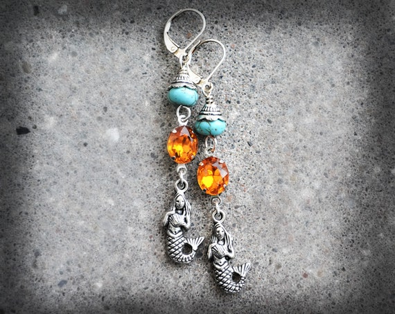 Mermaid Earrings Vintage Glass Rhinestone Earrings Turquoise Stone Earrings Antiqued Silver Long Dangle Earrings