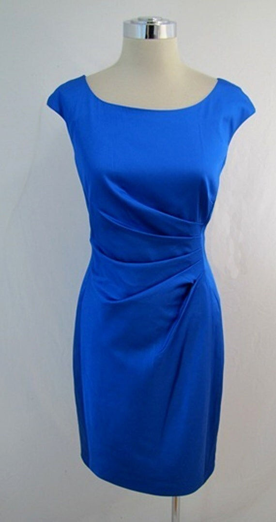 Ready to Ship - Royal Blue Ruched Stretch Dress - Size Small -