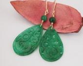 Chinese Green Jade Teardrop Gold Filled Earrings