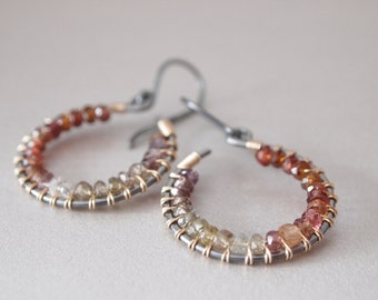 Multi color Sapphire Oxidized Sterling Silver Gold Filled Earrings