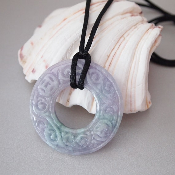 Chinese Purple-Green Jade Donut Pendant in Black Satin Necklace Cord