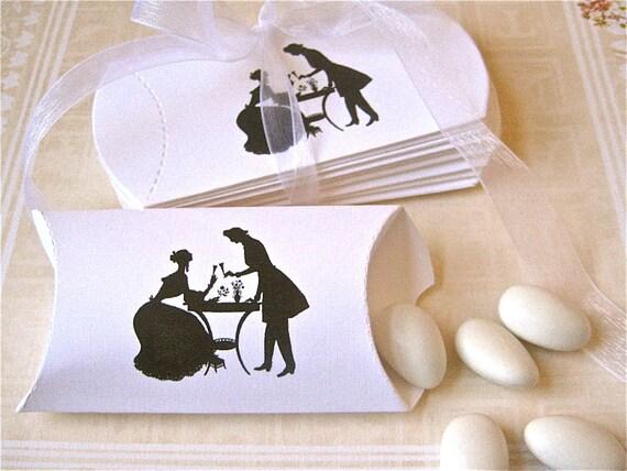Wedding Pillow Boxes Set of 12 White Favor Boxes - Victorian Couple