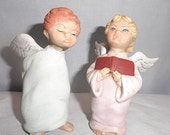 Angel  boy and Girl, hand painted ceramics  X5 and 6