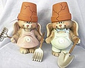 Mama & Poppa Bunnies with garden tools, hand painted ceramics