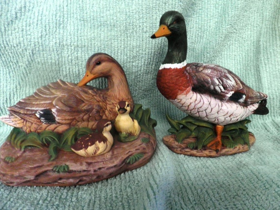 PAIR OF MALLARD Ducks With Chicks Hand Painted  Ceramic in non fired paint