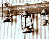 Old Lanterns, Antiques, Sepia Fine Art Photo