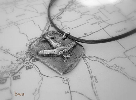 Flight to the Finish, T6 Texan, Vintage Airplane Pendant Necklace