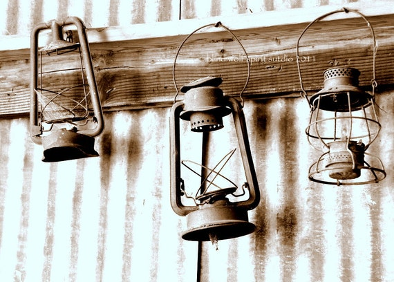 Old Lanterns, Antiques, Sepia Fine Art Photo