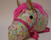 Rainbow Drop Daisy Stick Horse, or Stick Horse Head, MADE to ORDER, With or Without Stick, Hot Pink Mane & Bridle, stick pony