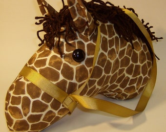 Stick Horse, Giraffe Print with Gold Bridle, MADE to ORDER, With or Without Stick