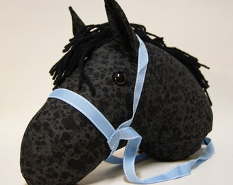 Stick Horse Head, Dappled Black, Choice of Blue or Pink Bridle Color, MADE to ORDER, With or Without Stick