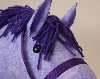Stick Horse Head, Mystical Purple Fairy Princess Horse, MADE to ORDER, With or Without Stick