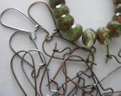 Lot 100 Kidney Earwires - wholesale - antique brass copper silver