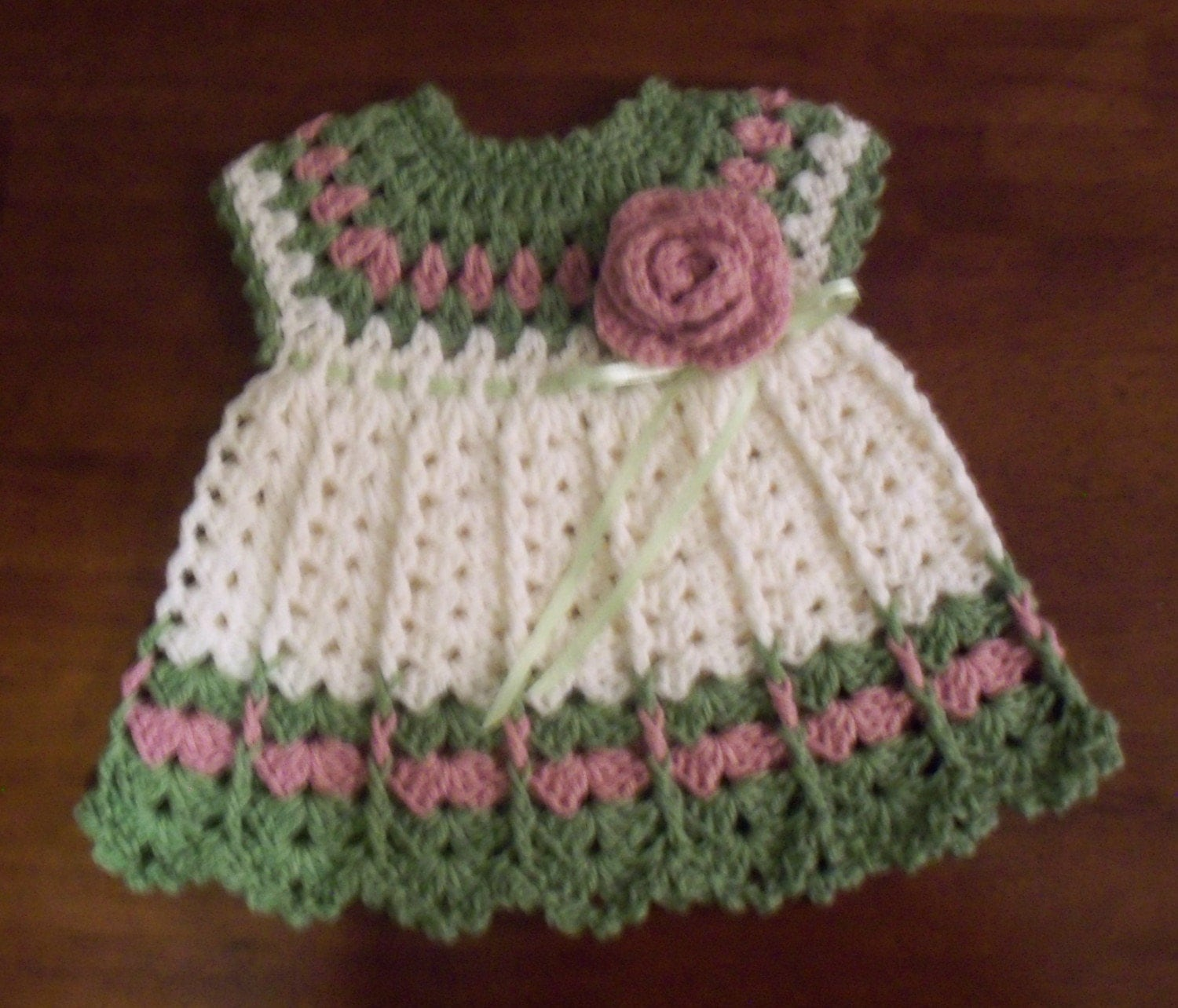 Crochet Baby Outfit Patterns : Rosebud Baby Dress Pattern 0-3 and 3-6 month by ...