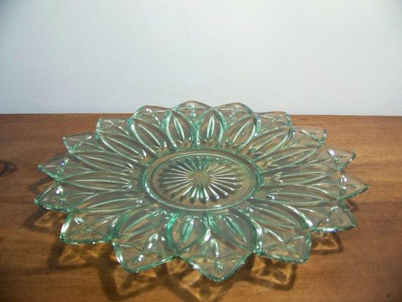 Vintage Green Federal Glass Petal Line Serving Platter - 1295