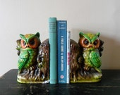 vintage 60s 70s neon green woodland owl bookends, ceramic, retro,  library