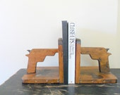 handmade vintage wooden gun bookends - for him - fathers day - hunting