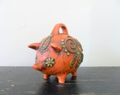 reserved for kim retro orange fitz and floyd MOD style piggy bank - farm animal - floral - 1960s