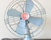 mid-century baby blue electric ge desk fan - industrial - general electric - urban decor
