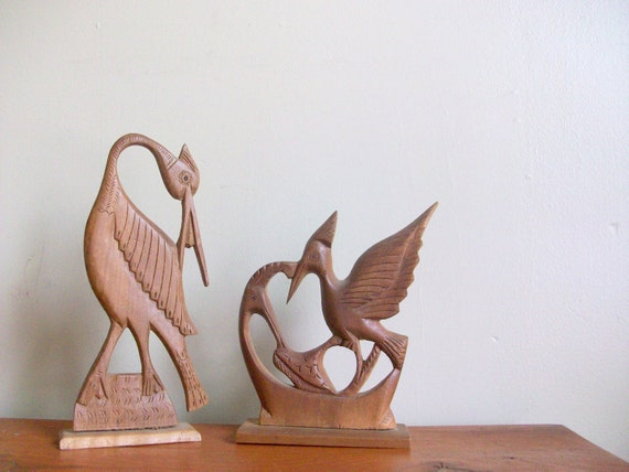 reserved for kim reduced sale - vintage midcentury hand carved wooden heron bird figurine -  handmade - brown