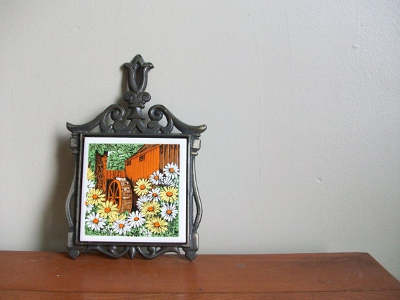 reduced clearance - 70s retro rustic summer garden cast iron trivet - farm - country - summertime