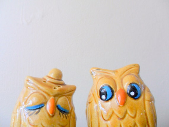 reserved for mary his and hers adorable ceramic owl salt and pepper shakers - couple - woodland